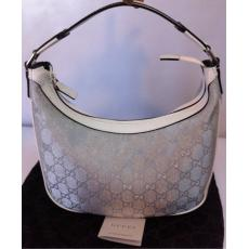 Gucci Silver/Grey White Leather Hobo Bag