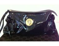 Gucci Black Patent Leather Large Clutch Bag