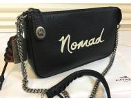 New~Coach'NOMAD'Black Leather Silver Chain Crossbody Bag