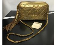 Chanel Gold Leather Long Chain...